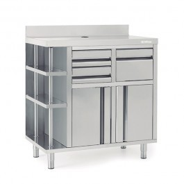 --- INFRICO MCAF1000CD --- Back Bar Coffee Unit with Drawers & Upstand - W1000mm
