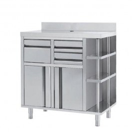 --- INFRICO MCAF1000CI --- Back Bar Coffee Unit with Drawers & Upstand - W1000mm