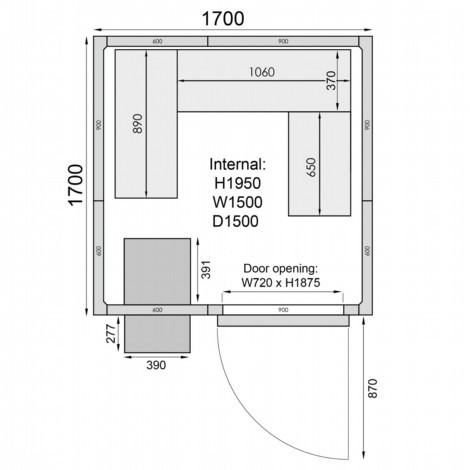Mercatus ME1717F Walk in Freezer Room