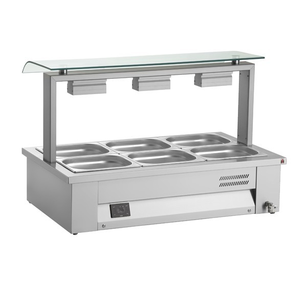 Inomak MEV67 Counter Top 2 x GN1/1 Bain Marie with Single Sneeze Guard