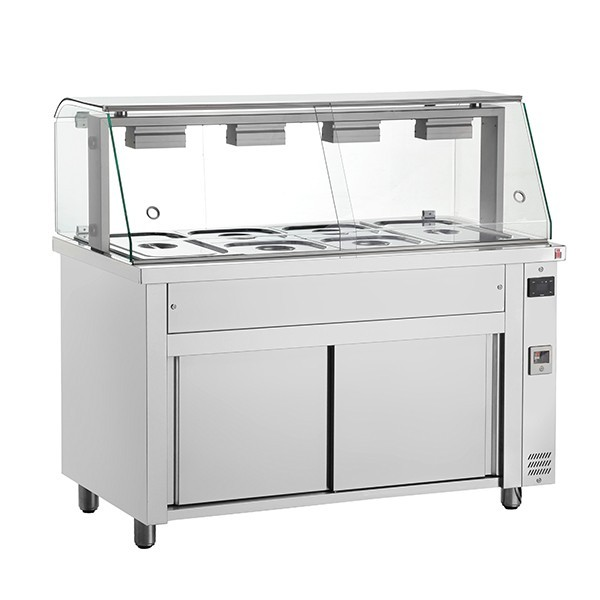 Inomak MFV714 Ambient Cupboard with 4 x GN1/1 Bain Marie & Glass Structure