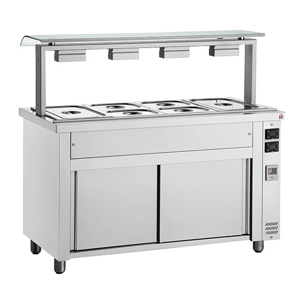 Inomak MJV714 Wet Bain Marie 4 x GN1/1, Single Sneeze Guard & Heated Base