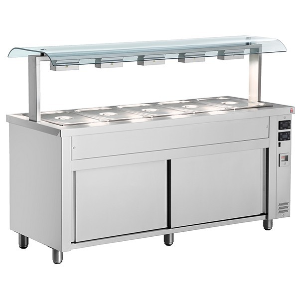 Inomak MQV718 Wet Bain Marie 5 x GN1/1 Double Sneeze Guard & Heated Base