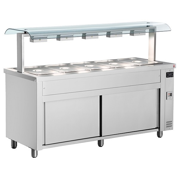 Inomak MRV718 Wet Bain Marie 5xGN1/1 Double Sneeze Guard, Ambient Base
