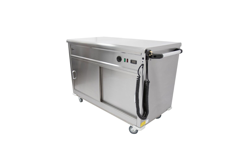 Mobile Flat Top Servery Hot Cupboard - W1500mm