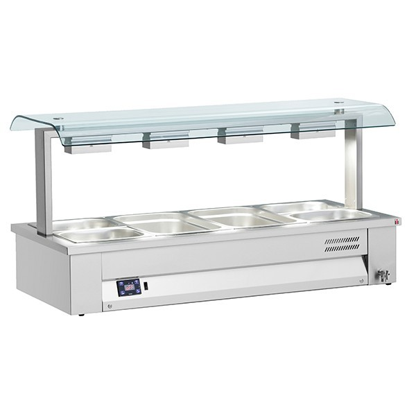 Inomak MSV610 Counter Top 3 x GN1/1 Wet Bain Marie with Dual Sneeze Guard