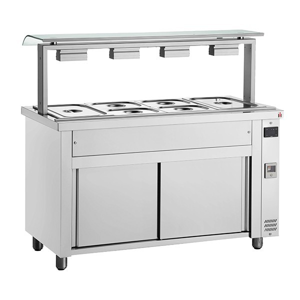 Inomak MVV714 Wet Bain Marie 4xGN1/1 Single Sneeze Guard, Ambient Base
