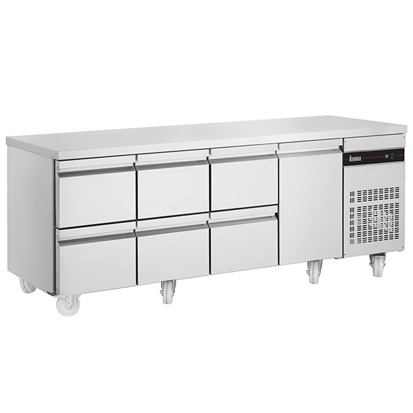 Inomak PN2229-ECO Gastronorm 1/1 Counter with 1 Door, 6 Drawers - 583 Litre