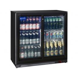 Prodis NT2BSLO-HC Sliding Low Height  Double Door Black Bottle Cooler