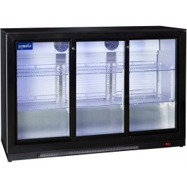 Prodis NT3BS-HC Sliding Triple Door Black Bottle Cooler
