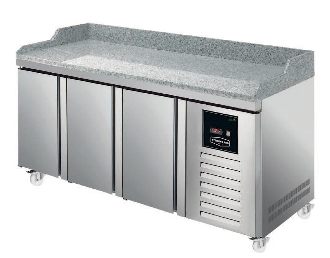 Sterling Pro SPI-7-180-30-GR Three Door Granite Counter Fridge - 452 Litres