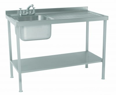 Parry SINK1060RFP Single Bowl Sink with Right Hand Drainer 600mm Wide
