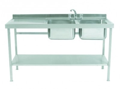 Parry SINK1560DBLFP Double Bowl Sink with Left Hand Drainer 600mm Wide