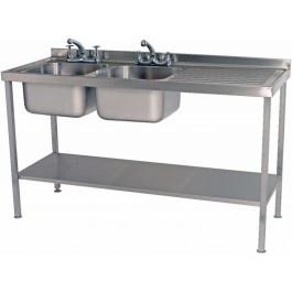 Parry SINK1560DBRFP Double Bowl Sink with Right Hand Drainer 600mm Wide