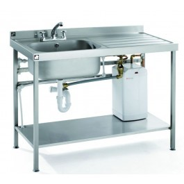 Parry QFSINK1260L10L Mobile Heated Sink with Left Hand Drainer  - D600mm