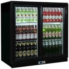 Sterling Pro Green SP2HC-BS Black Double Sliding Door Bottle Cooler