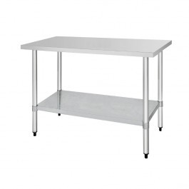 Vogue T377 Stainless Steel Prep Table with Galvanised Under Shelf - 1500mm
