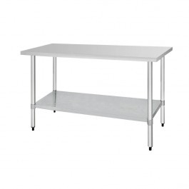 Vogue T378 Stainless Steel Prep Table with Galvanised Under Shelf - 1800mm