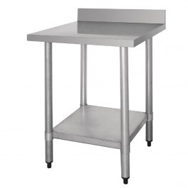 Vogue T379 Stainless Steel Prep Table with Upstand & Galvanised Undershelf - 600mm