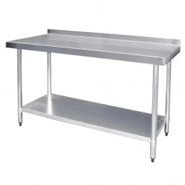 Vogue T381 Stainless Steel Prep Table with Upstand & Galvanised Undershelf - 1200mm