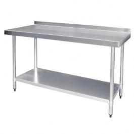 Vogue T382 Stainless Steel Prep Table, Upstand, Galvanised Undershelf 1500mm