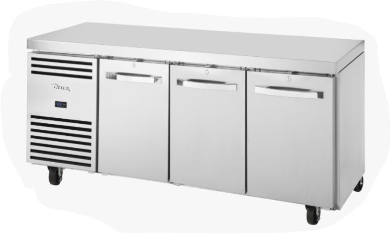 True TCF1/3-CL-SS-DL-DR-DR Three Door Counter GN 1/1 Freezer