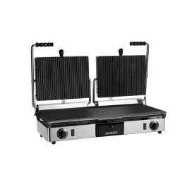 Maestrowave MEMT16052XNS Non Stick Ribbed Top Flat Bottom Double Contact Grill