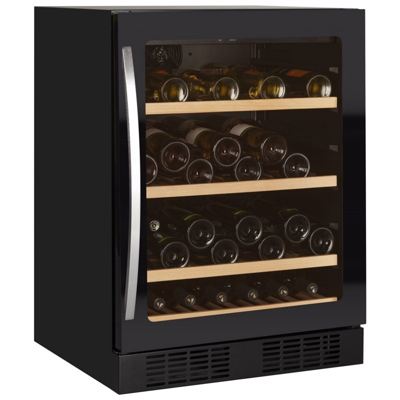 Tefcold TFW160 FRAMELESS Black Glass Door Wine Cooler with Tinted Glass