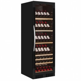 Tefcold TFW375 FRAMELESS Black Glass Door Wine Cooler with Tinted Glass