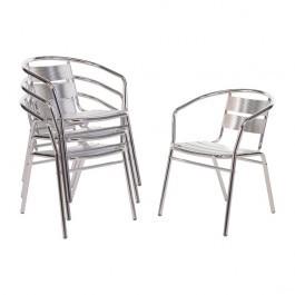 Bolero U419 Lightweight Aluminium Stacking Chairs Pack of 4