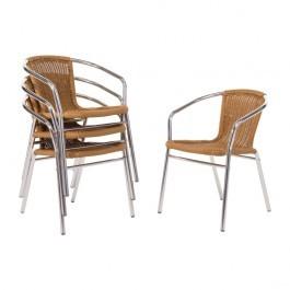 Bolero U422 Aluminium and PE Wicker Stackable Chairs - Pack of 4