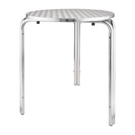 Bolero U431 Aluminium Base & Stainless Steel Top Round Bistro Stackabel Table - 600mm