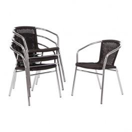 Bolero U507 Aluminium and Black Wicker Stackable Chairs - Pack of 4
