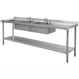 Vogue U910 Double Sink Double Drainer With Upstand & Waste Kit - W2400mm