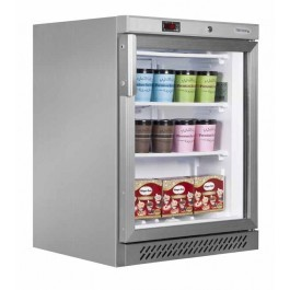 Tefcold UF200VGS Glass Door Stainless Steel Freezer with Fan Assisted Cooling