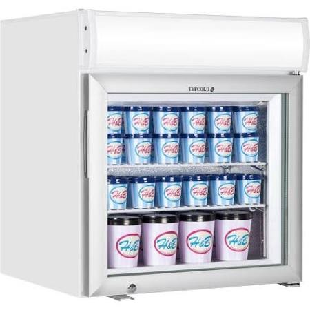Tefcold UF50GCP-P + Canopy Glass Door White Display Freezer