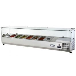 --- ATOSA VRX1200/380 --- Refrigerated Glass Lid Topping Unit with 5 GN 1/4 Pans