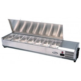 --- ATOSA VRX1400/330S --- Refrigerated Solid Lid Topping Unit with 6 GN 1/4 Pans