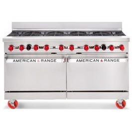 American Range AR10 Powerful 10 Gas Burner Range with Twin Ovens