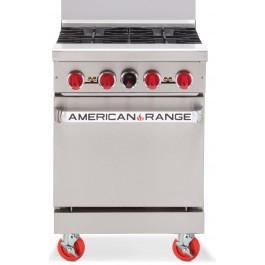 American Range AR4 Powerful 4 Gas Burner Range with Oven Beneath