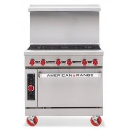 American Range AR6 Powerful 6 Gas Burner Range with Oven Beneath