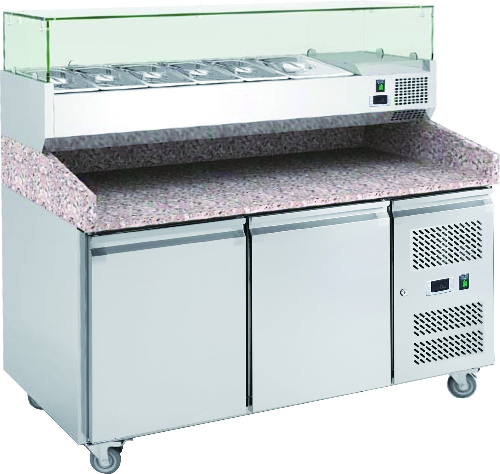 Chefsrange PP2+ 2 Door Pizza Prep Counter with Topping Well