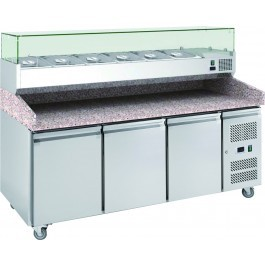 Chefsrange PP3+ Three Door Pizza Prep Counter with Topping Well