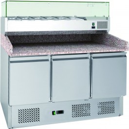Chefsrange PP3C+ Compact Three Door Pizza Prep Counter with Topping Well