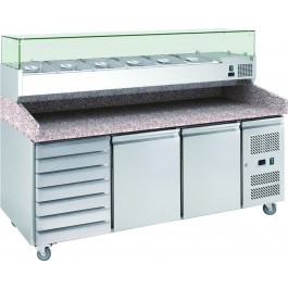 Chefsrange PP3D+ Two Doors & 7 Drawers Pizza Prep Counter with Topping Well
