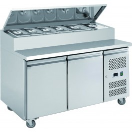 Chefsrange SP270 Two Door Prep Counter with 7 x 1/3 GN Topping Well