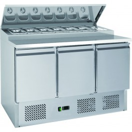 Chefsrange SP313 Compact Three Door Prep Counter with 7 x 1/3 GN Topping Well