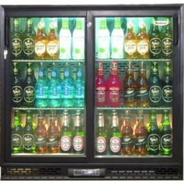 --- INFRICO ZX2SL --- Charcoal Bottle Cooler with Black Double Sliding Doors